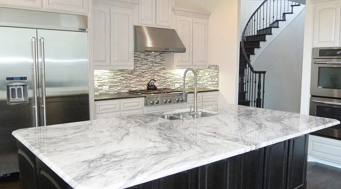 Glacier White Granite Kitchen Countertops